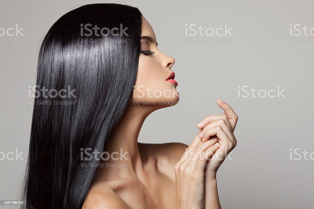 Beautiful Brunette Girl. Healthy Long Hair. stock photo
