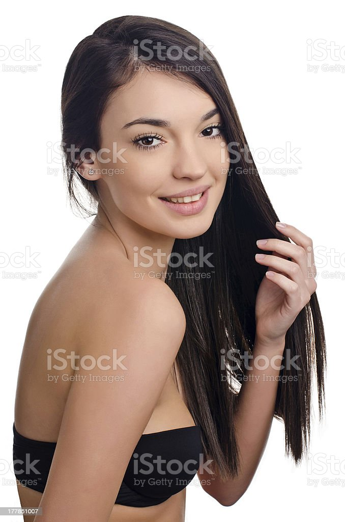 Beautiful brunette girl with long hair. royalty-free stock photo