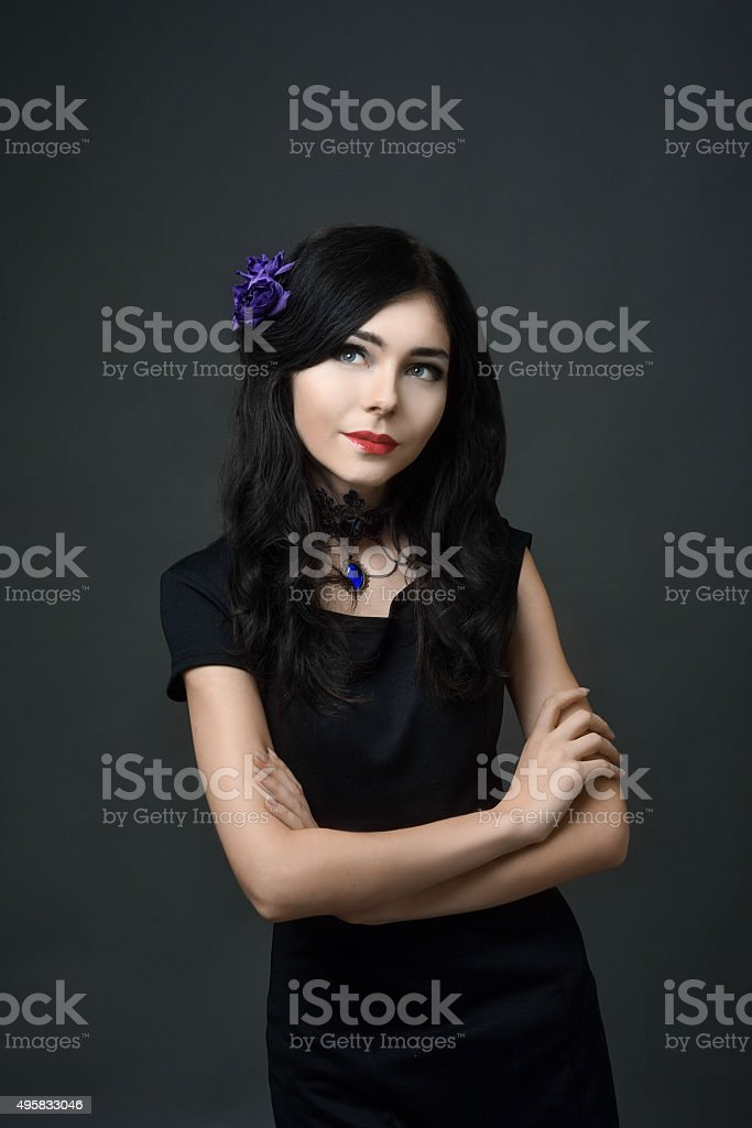 Beautiful brunette girl with long hair stock photo