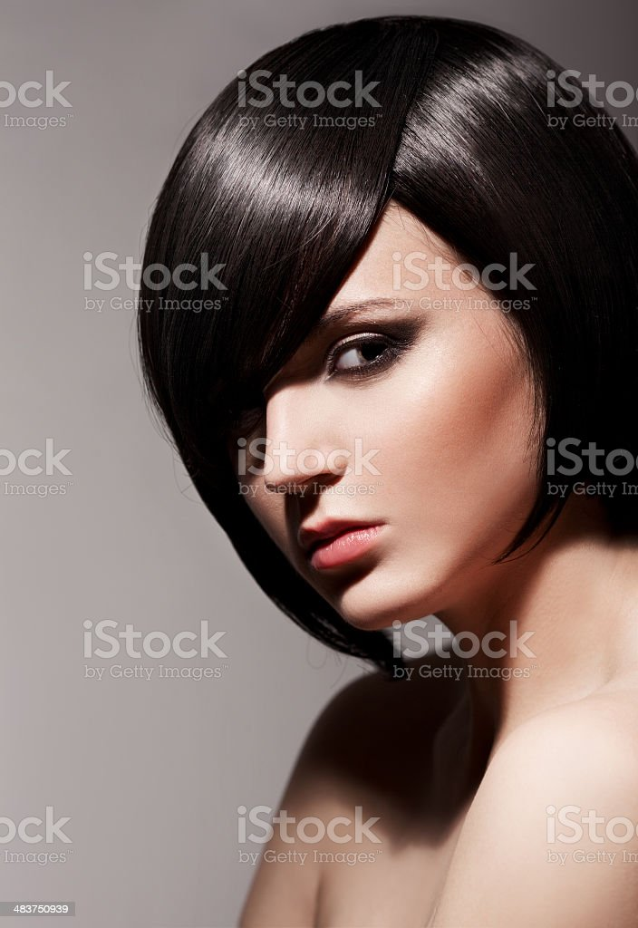 Beautiful Brunette Girl.Healthy Hair.Hairstyle. stock photo