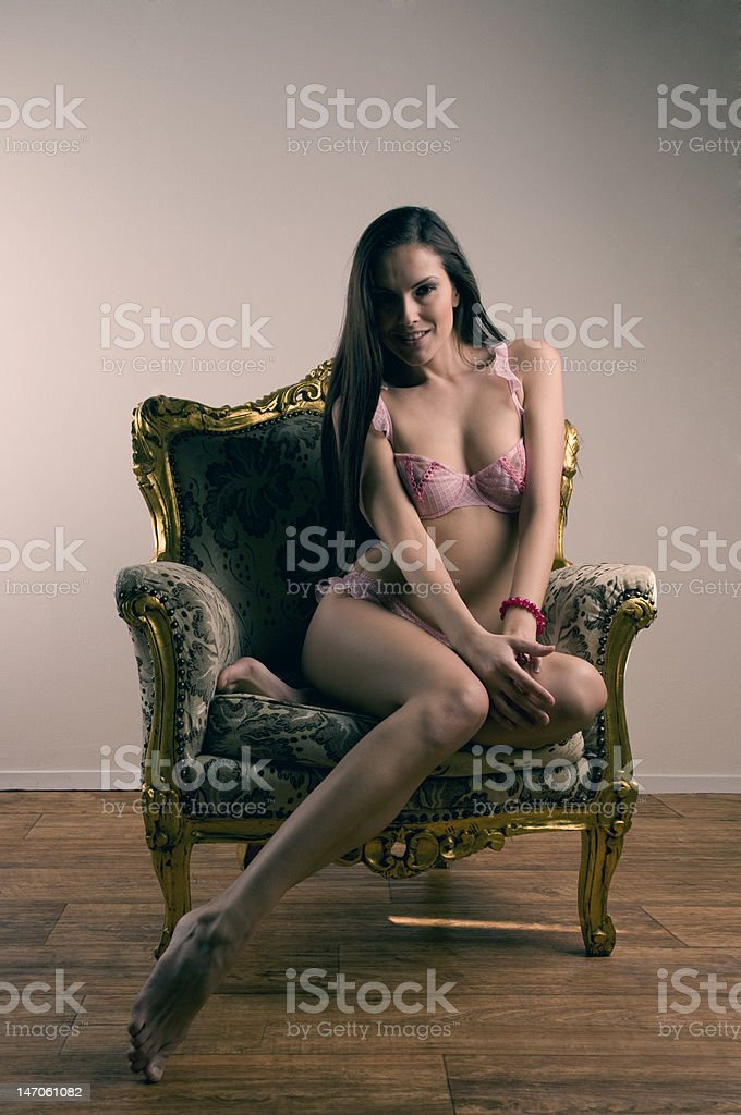 Beautiful brunette in lingerie royalty-free stock photo