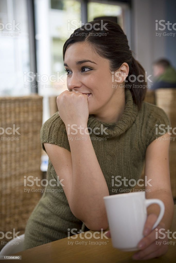 Beautiful Brunette Latina Mixed Young Woman with Friend in Cafe royalty-free stock photo