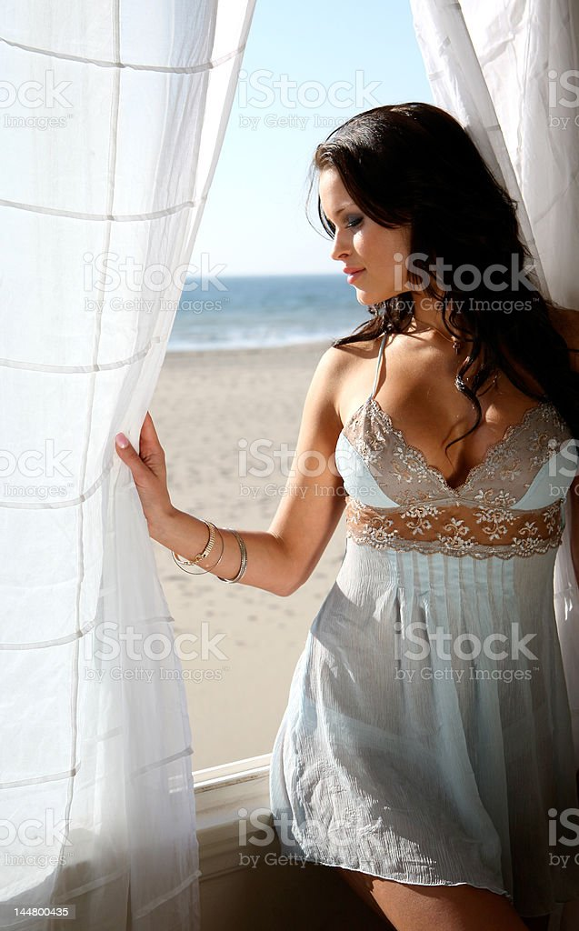 Beautiful brunette lingerie model royalty-free stock photo