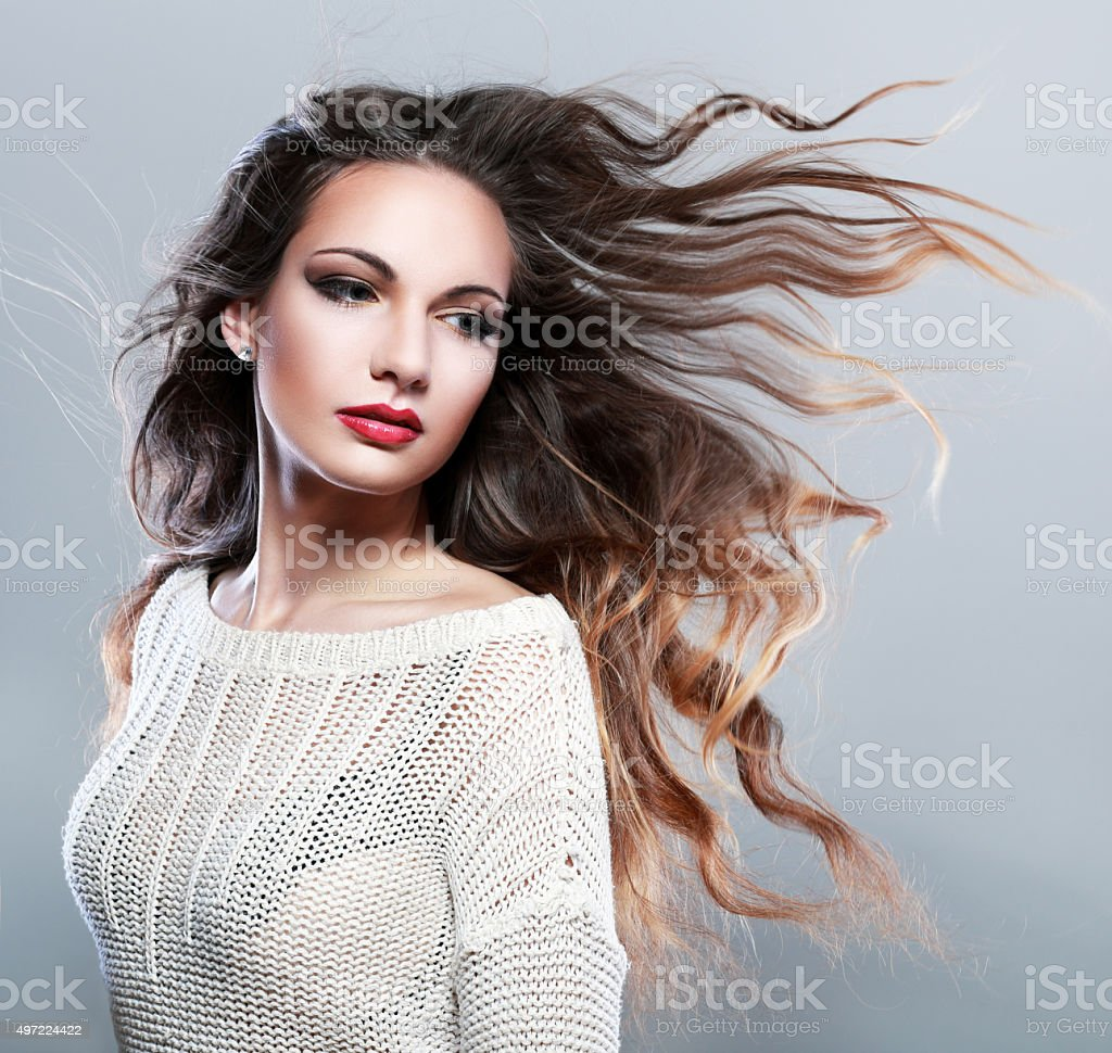 beautiful brunette stock photo