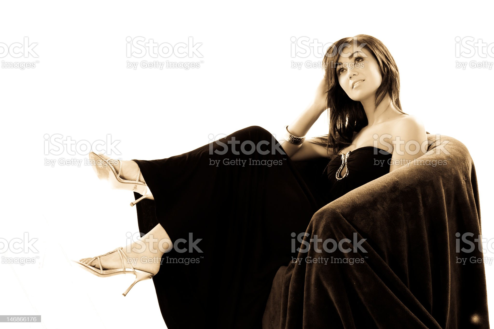 Beautiful brunette relaxing royalty-free stock photo