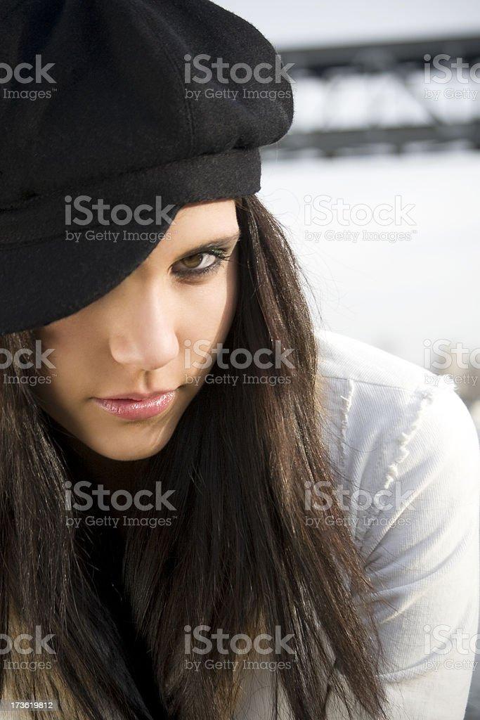 Beautiful Brunette Teenage Young Woman Fashion Model Portrait Outdoors royalty-free stock photo