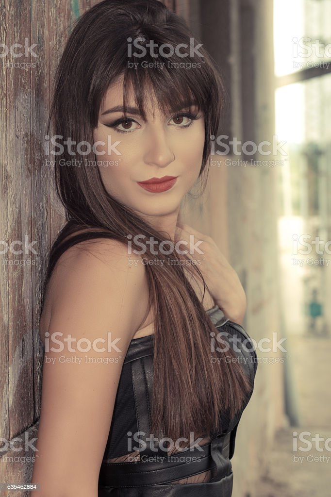Beautiful brunette with makeup stock photo