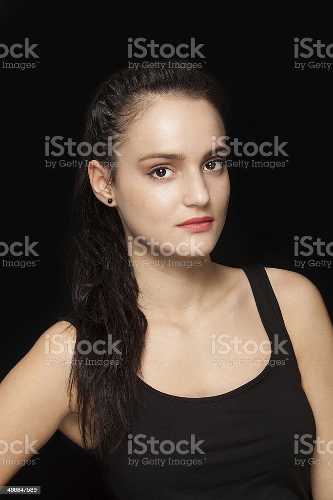Beautiful brunette with pony tail hair royalty-free stock photo
