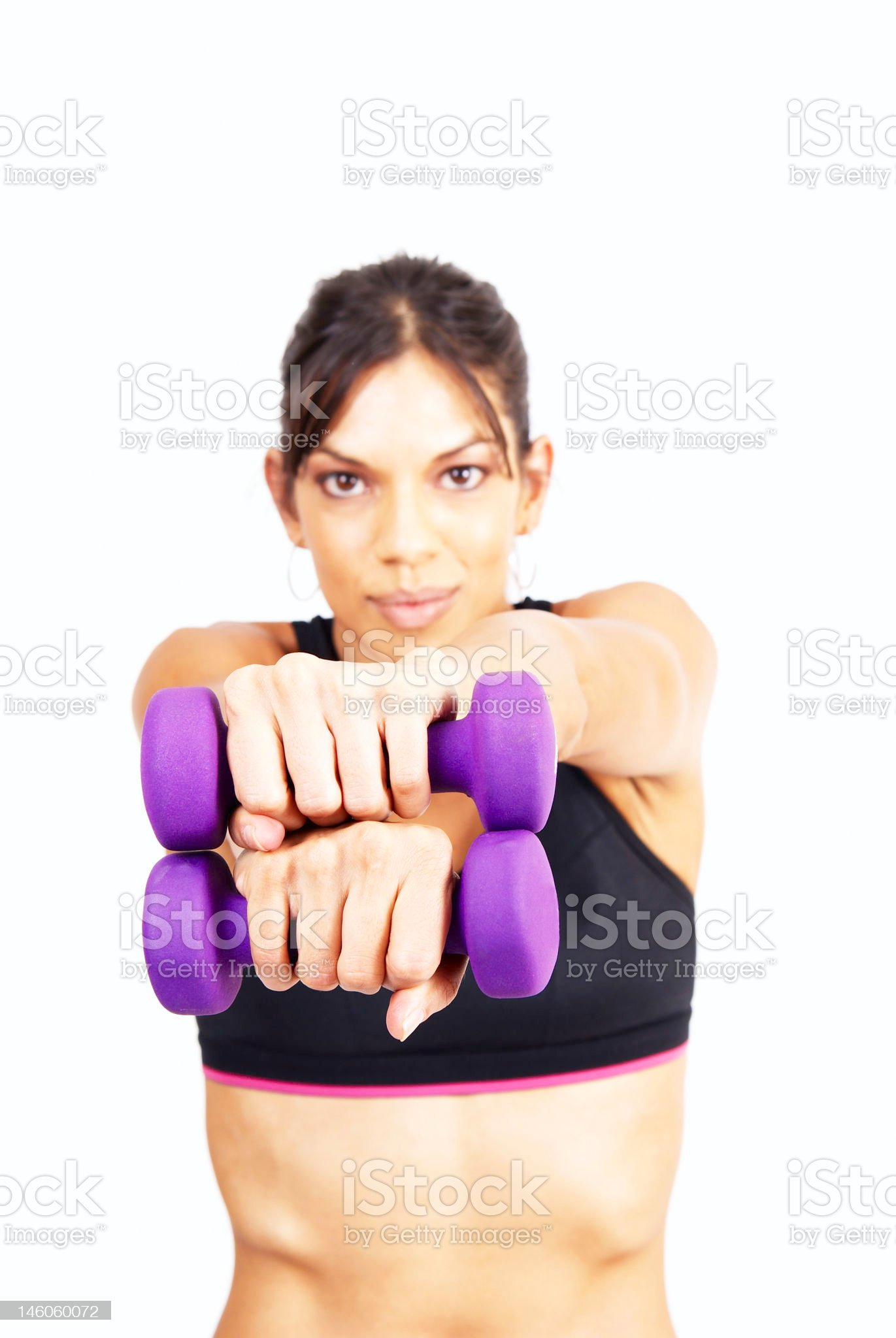 Beautiful brunette woman exercising royalty-free stock photo