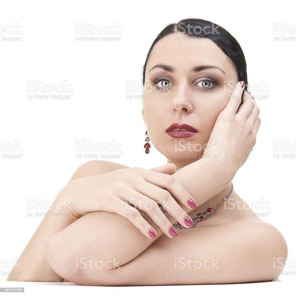 Beautiful Brunette Woman looking at camera royalty-free stock photo