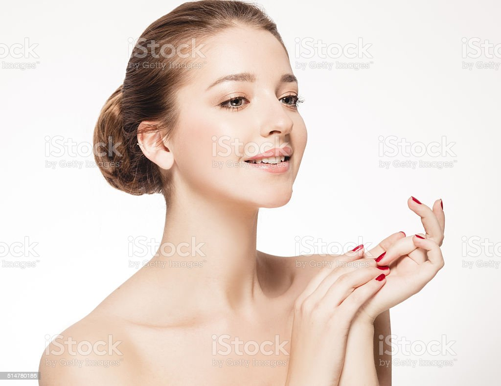 Beautiful Brunette Woman Portrait with healthy Hair. Clear Fresh Skin. stock photo