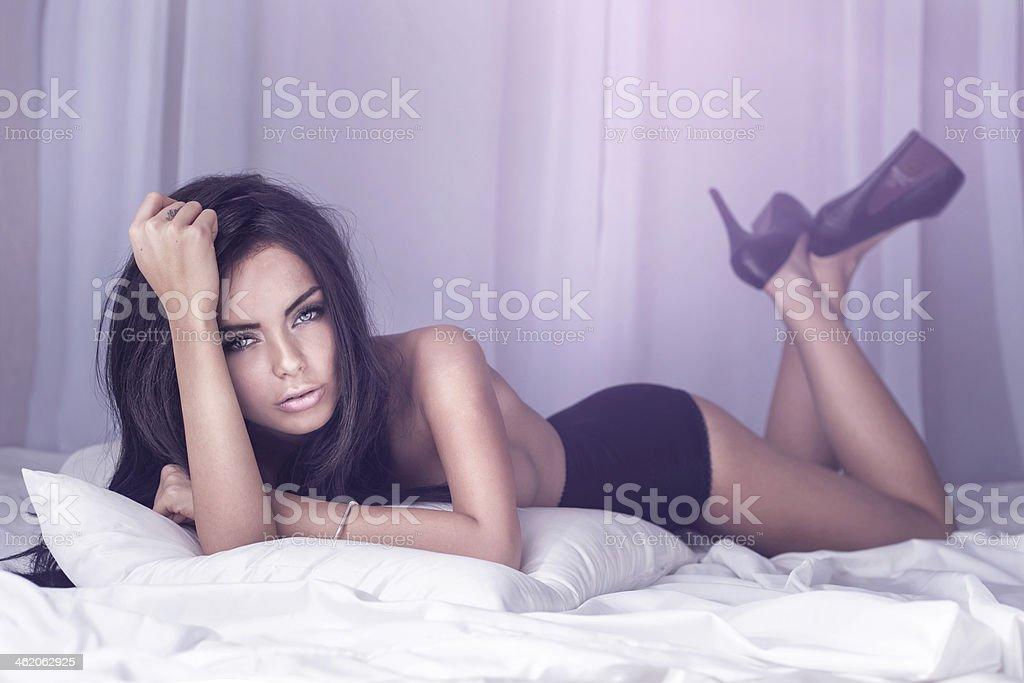 Beautiful brunette woman posing. stock photo