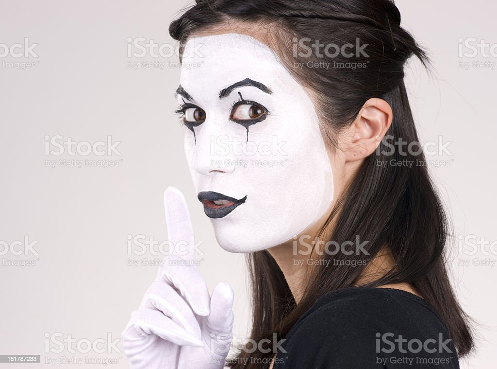 Beautiful Brunette Woman Theatrical Performance Mime Dance White stock photo