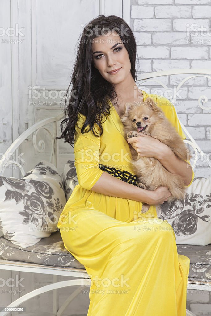 Beautiful brunette woman with small dog in hands stock photo