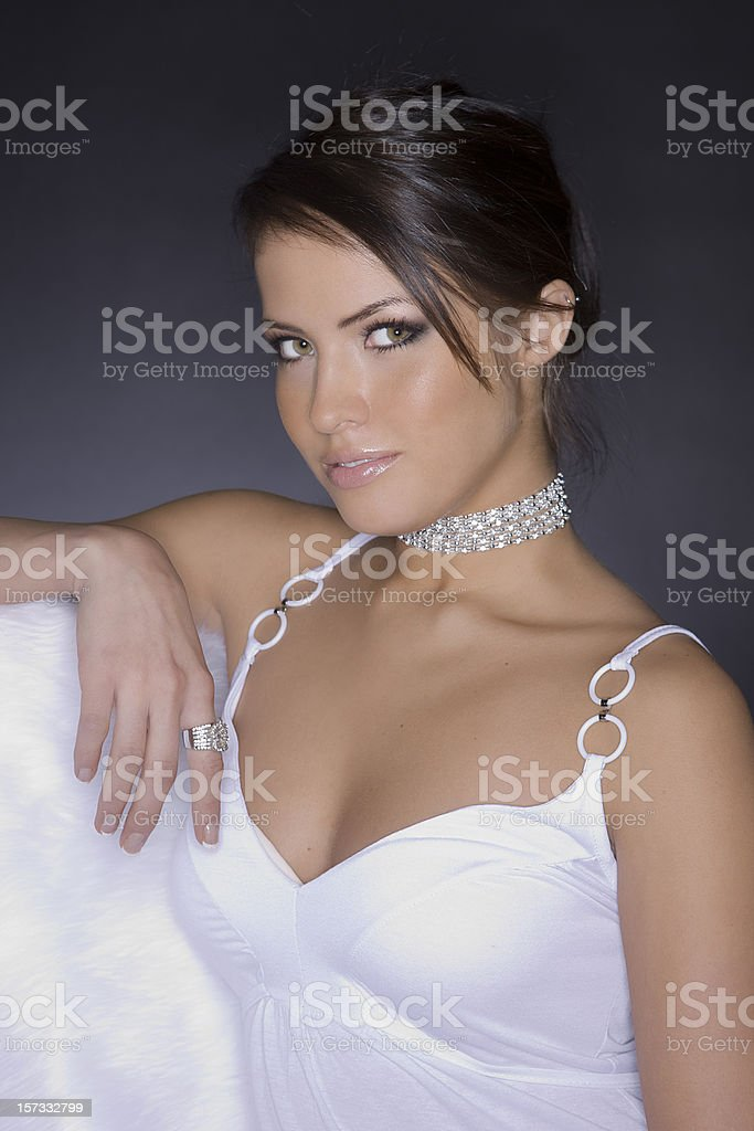 Beautiful Brunette Young Woman as Fashion Model in Diamonds stock photo