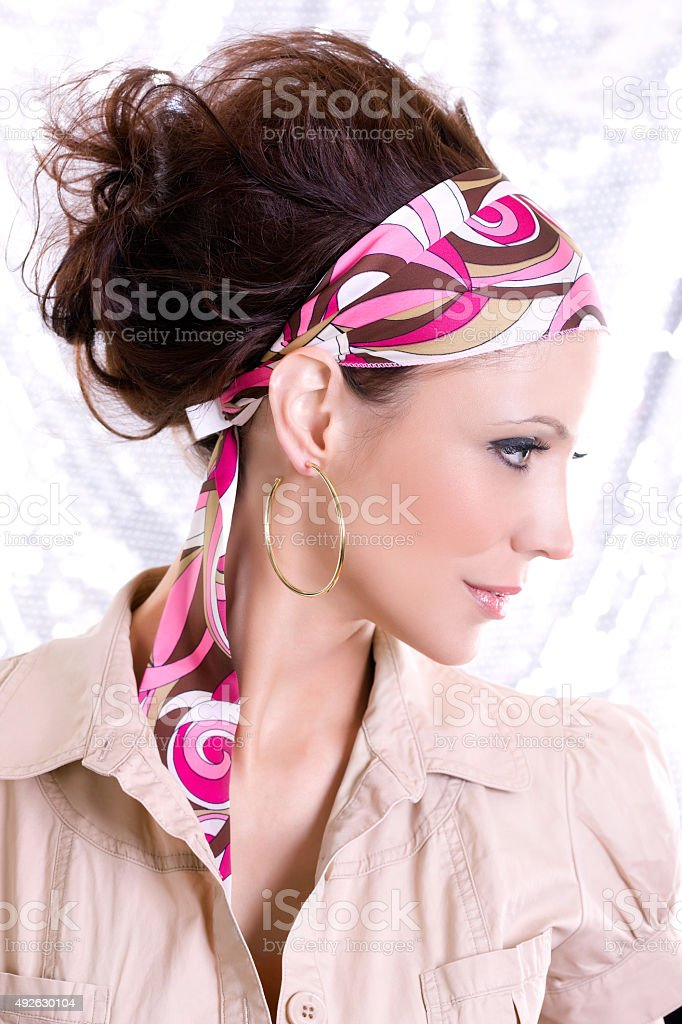 Beautiful Brunette Young Woman Fashion Model in 60s Updo Headband royalty-free stock photo