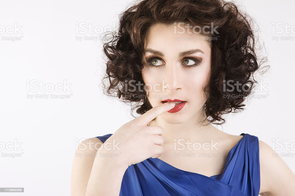 Beautiful Brunette Young Woman Fashion Model Seductive Portrait on White royalty-free stock photo