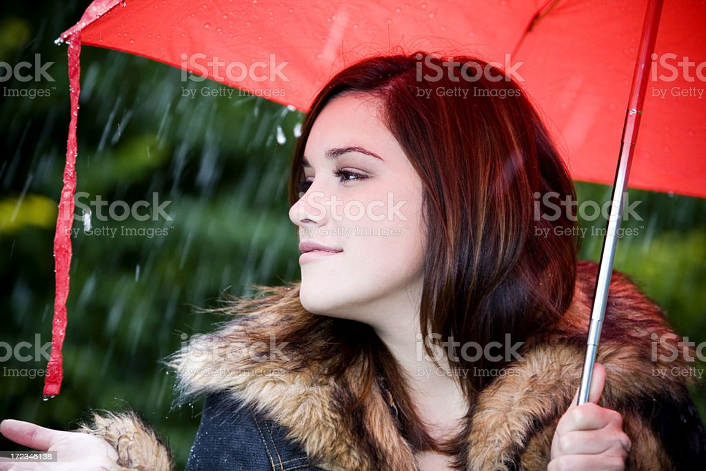 Beautiful Brunette Young Woman in Rain with Red Umbrella, Fall royalty-free stock photo