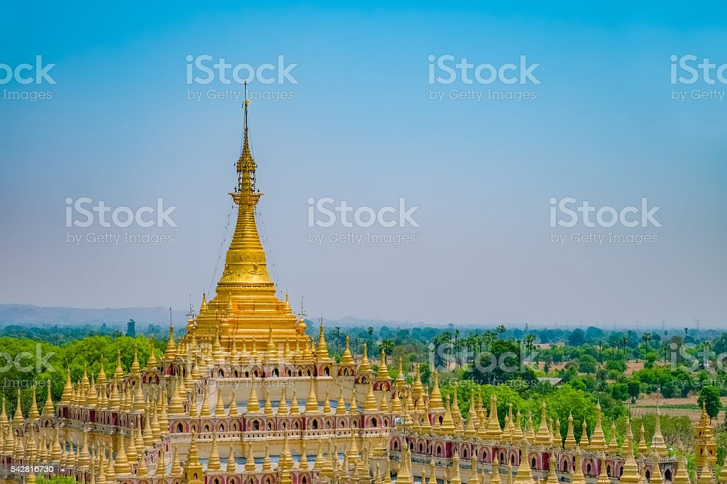 Beautiful buddhist pagoda in Monywa stock photo