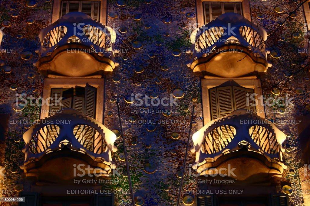 Beautiful building Batllo House built by Antoni Gaudi in Barcelona stock photo