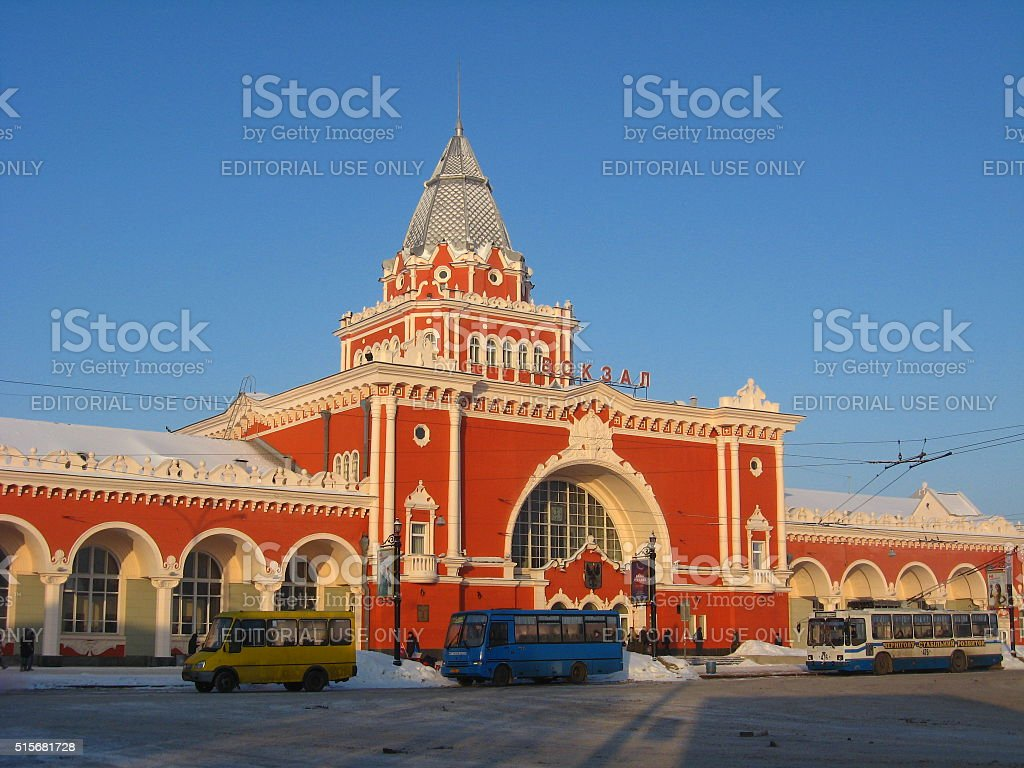 beautiful building of the railway station stock photo
