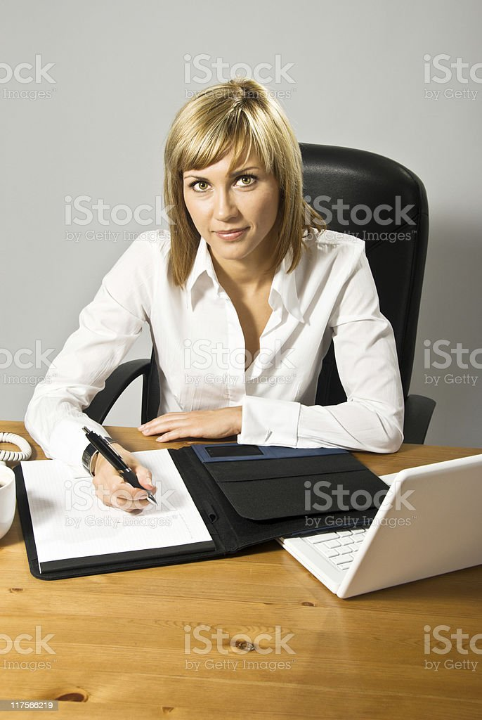 Beautiful Business Lady at desk royalty-free stock photo