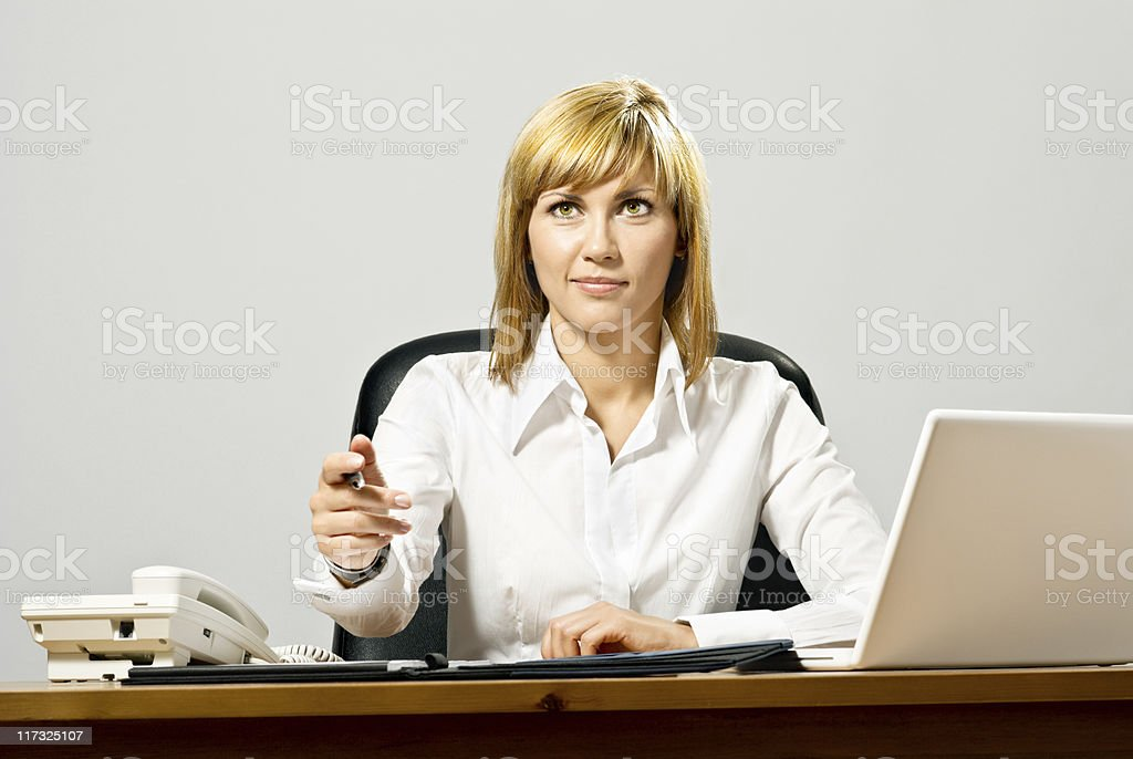 Beautiful Business Lady with Laptop royalty-free stock photo