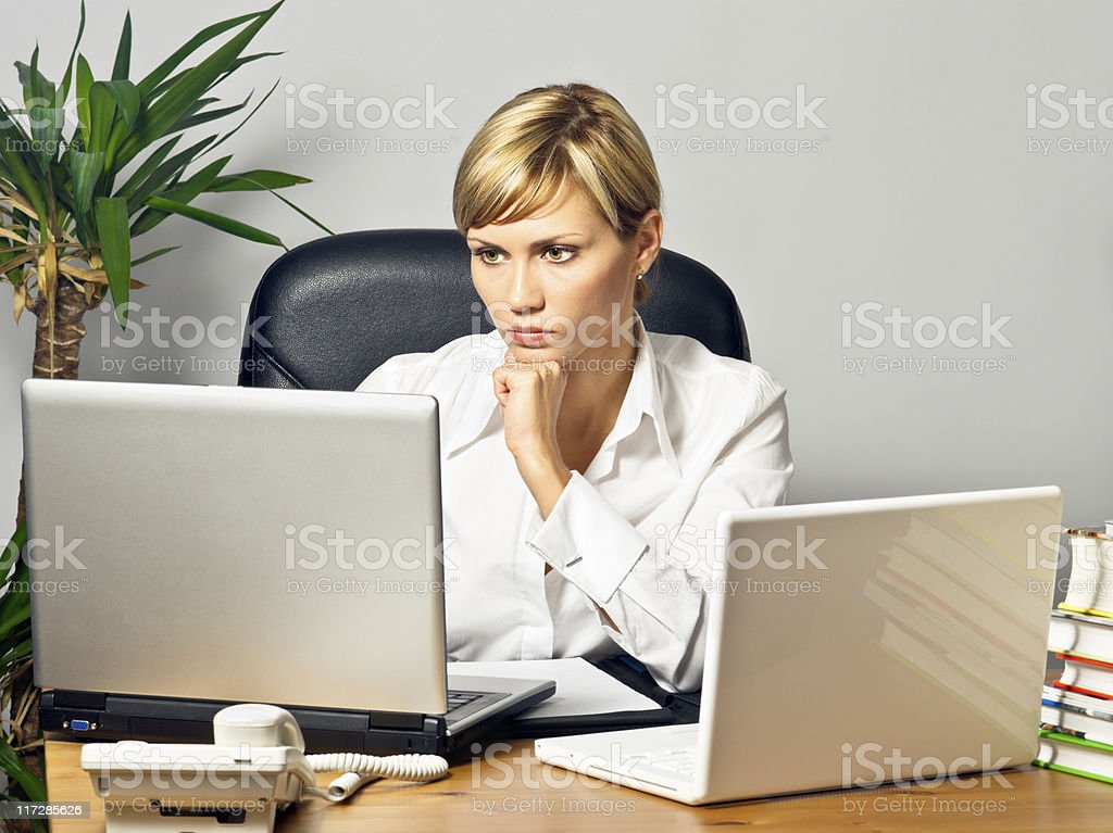 Beautiful Business Lady with Laptops royalty-free stock photo