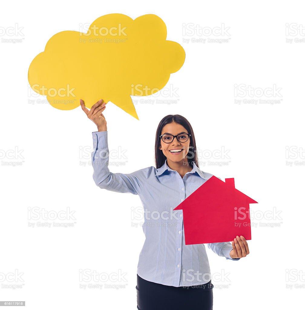 Beautiful business lady with speech bubble stock photo