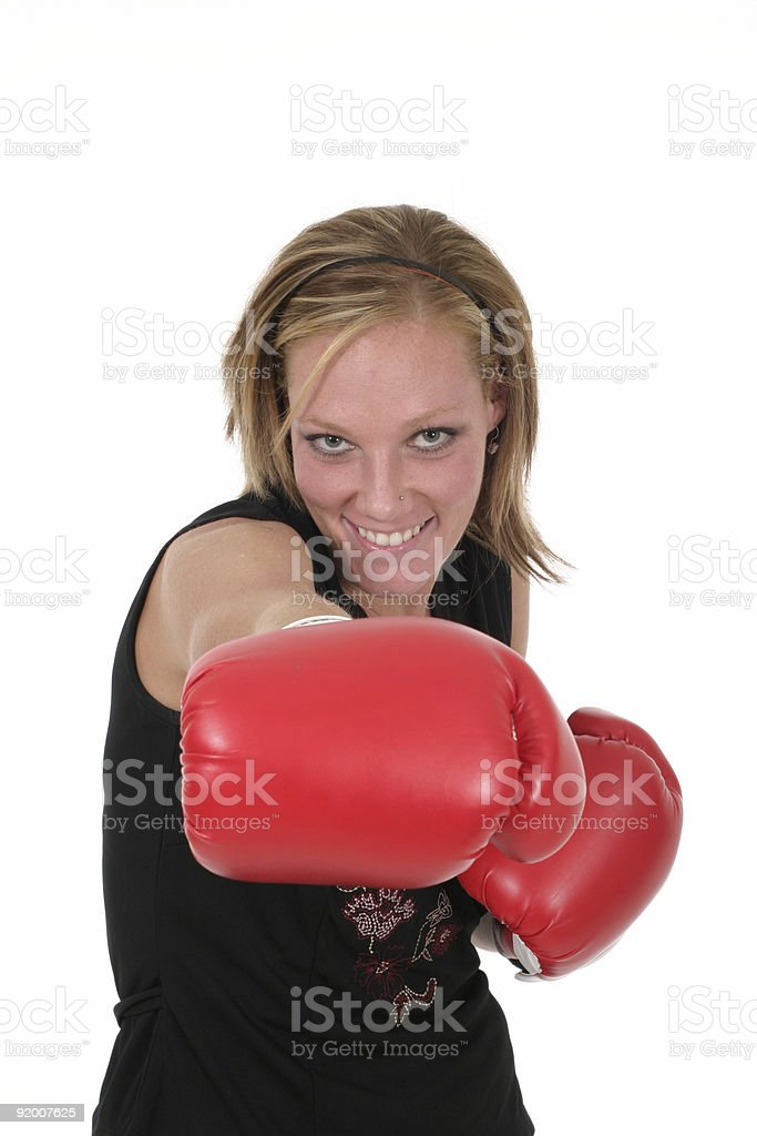 Beautiful Business Woman In Boxing Gloves royalty-free stock photo