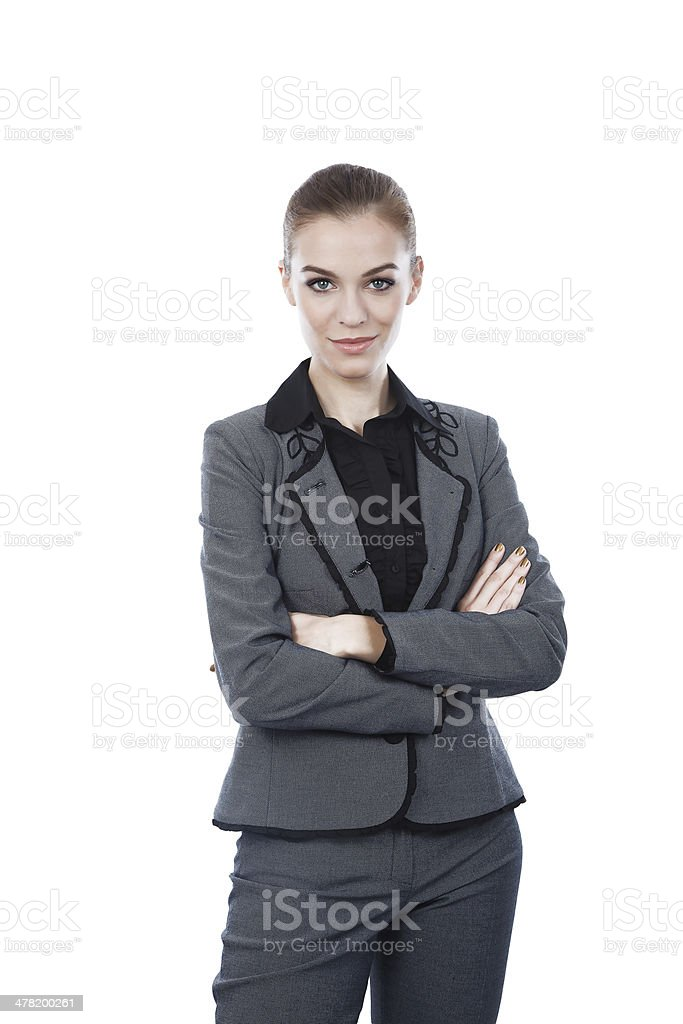 Beautiful business woman portrait. Arms crossed. royalty-free stock photo