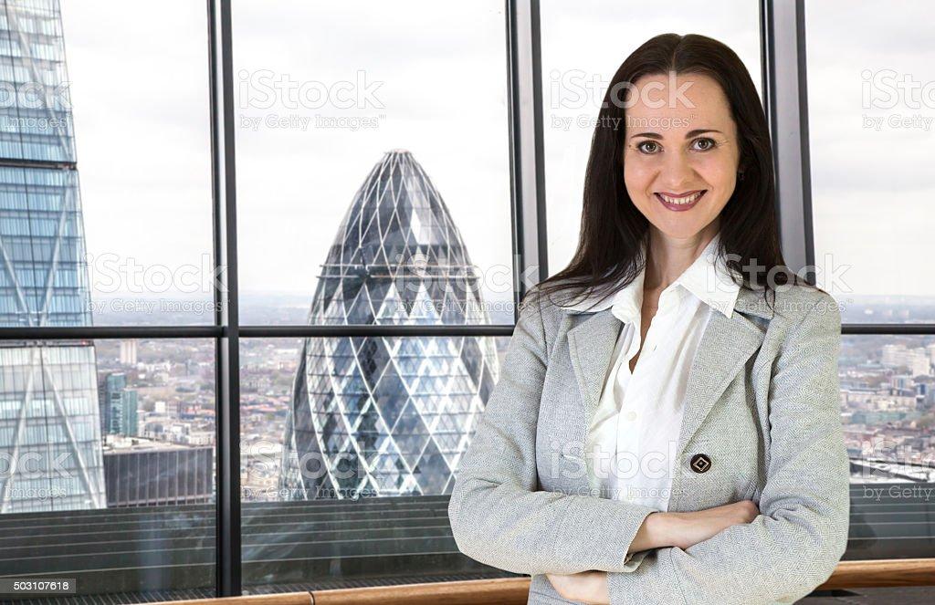 Beautiful business woman portrait in London office stock photo