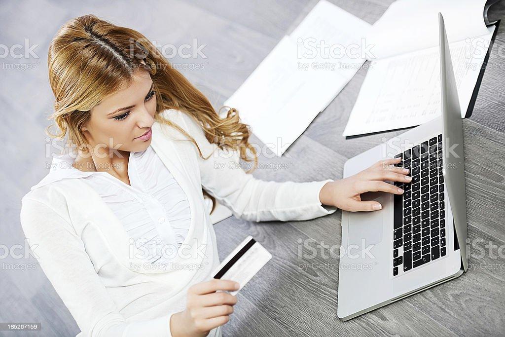 Beautiful business woman shopping online. royalty-free stock photo