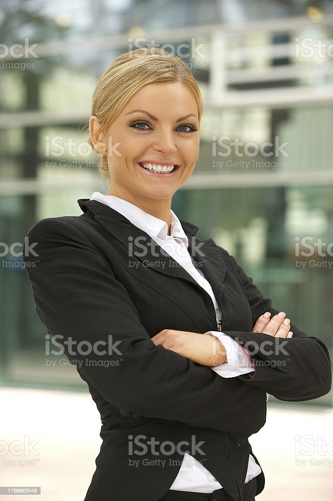 Beautiful business woman smiling outdoors royalty-free stock photo