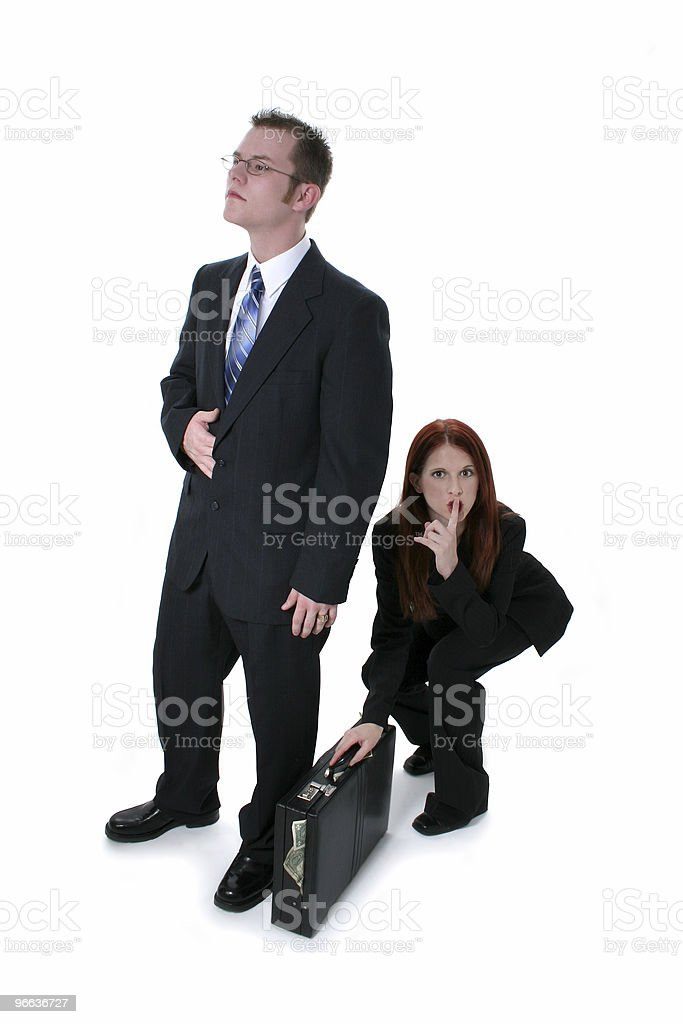 Beautiful Business Woman Stealing Briefcase Full Of Money From B royalty-free stock photo