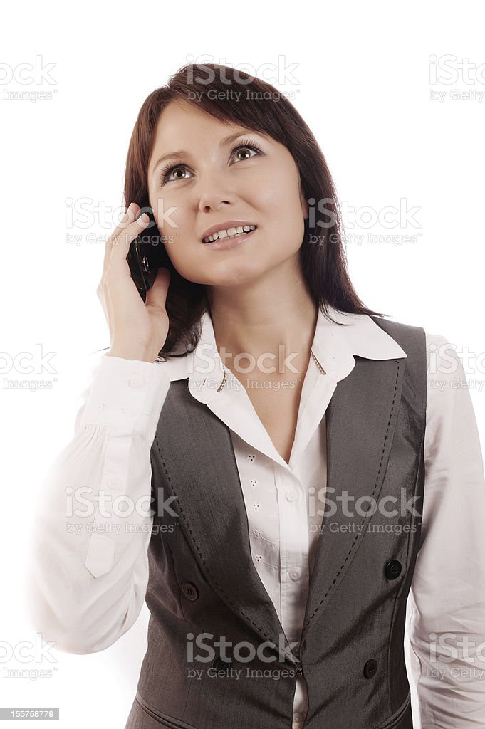 Beautiful business women talking on cell phone royalty-free stock photo