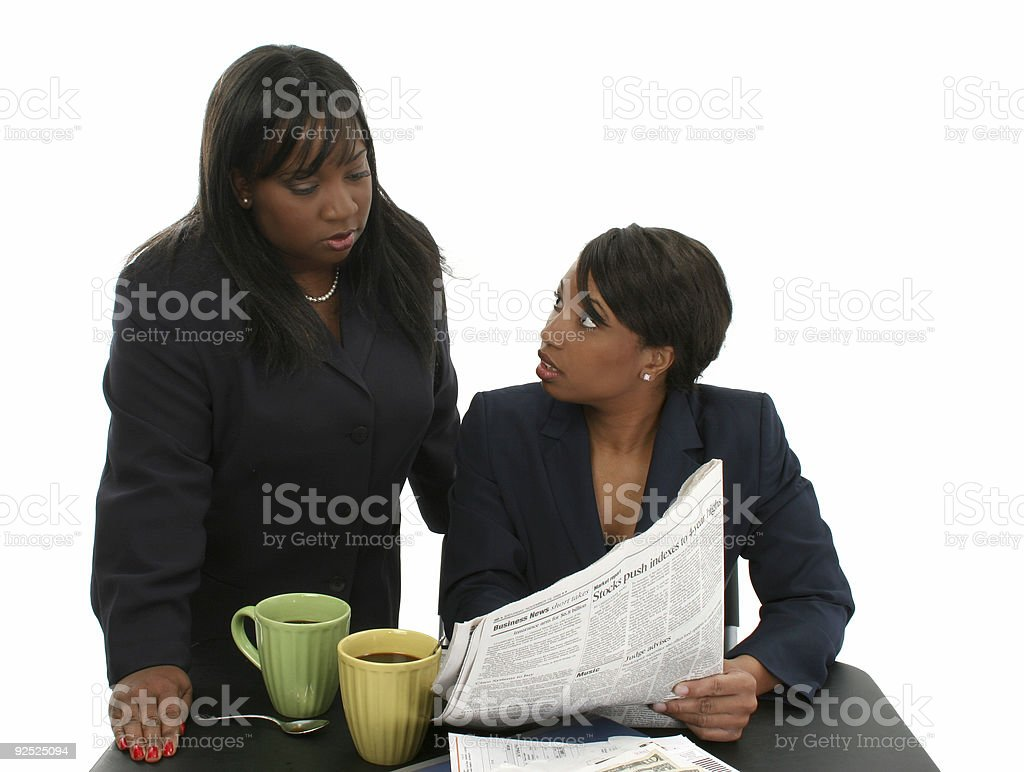 Beautiful Business Women With Newspaper stock photo