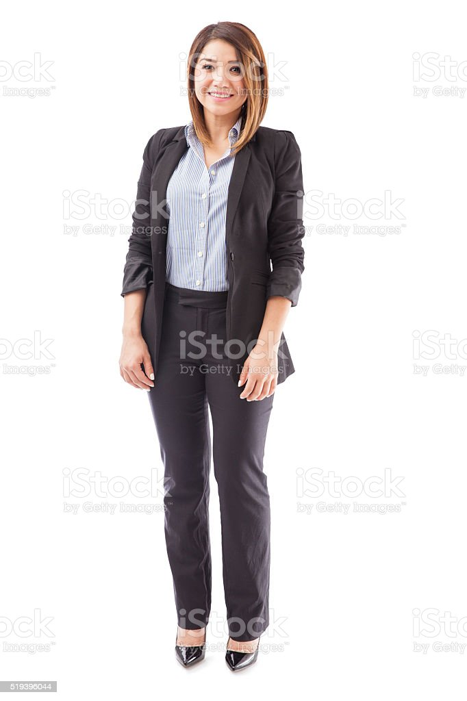Beautiful businesswoman in a suit stock photo