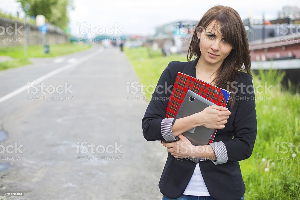Beautiful businesswoman on break in park. royalty-free stock photo