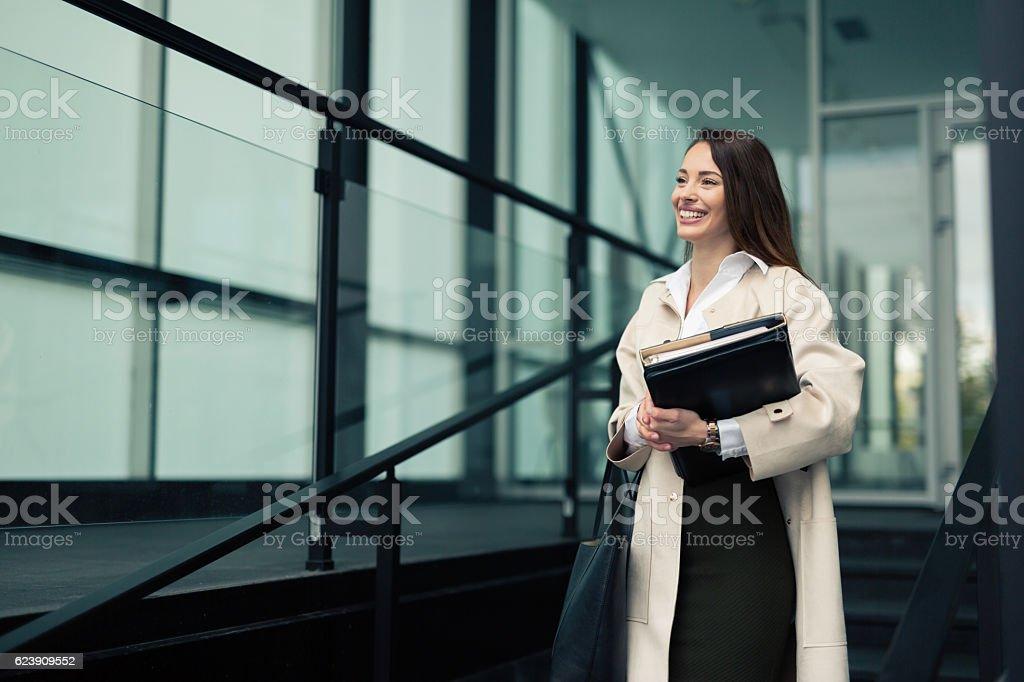 Beautiful businesswoman outdoors stock photo