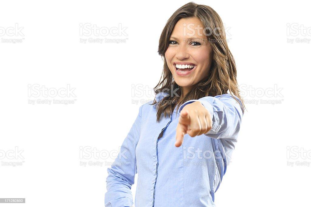 Beautiful businesswoman pointing towards camera stock photo