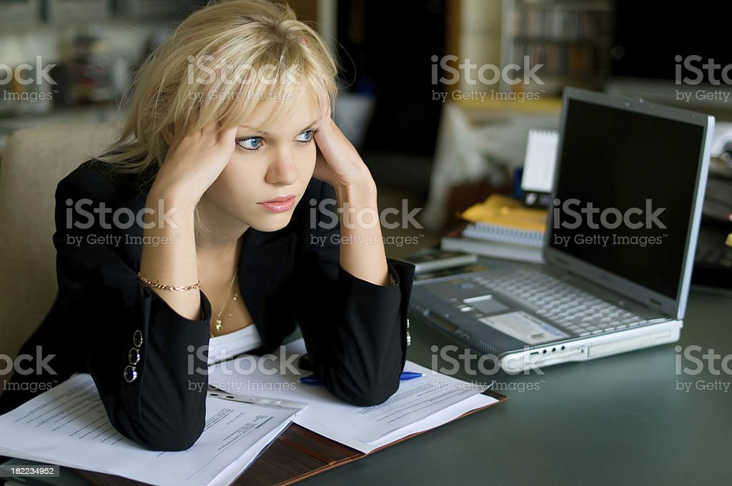 Beautiful businesswoman tired from work. royalty-free stock photo
