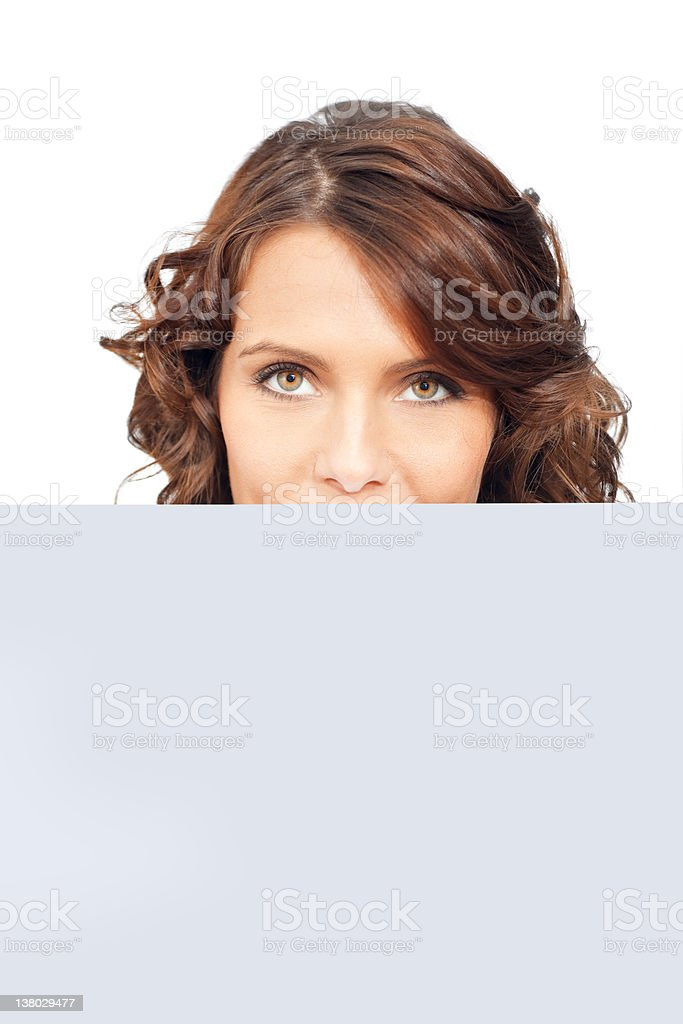 Beautiful businesswoman with blank paper royalty-free stock photo