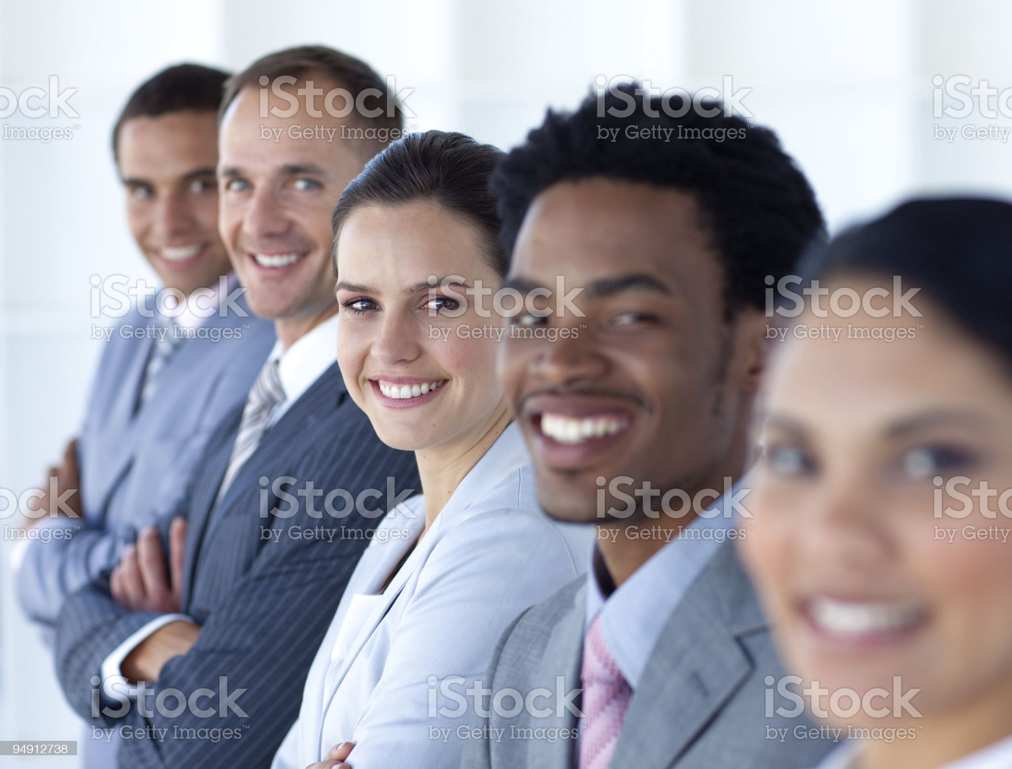Beautiful businesswoman with her team in a line royalty-free stock photo