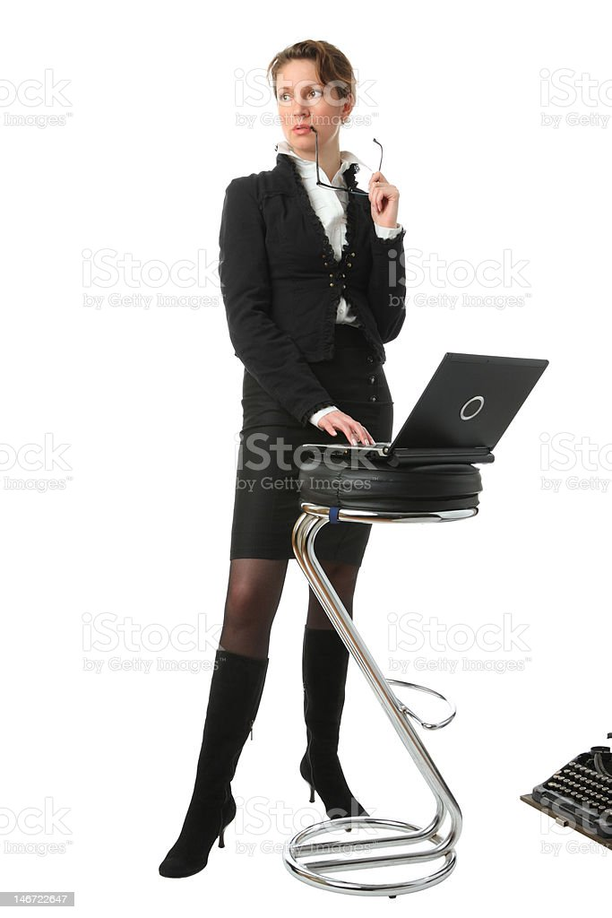 beautiful businesswoman with laptop on a white background royalty-free stock photo