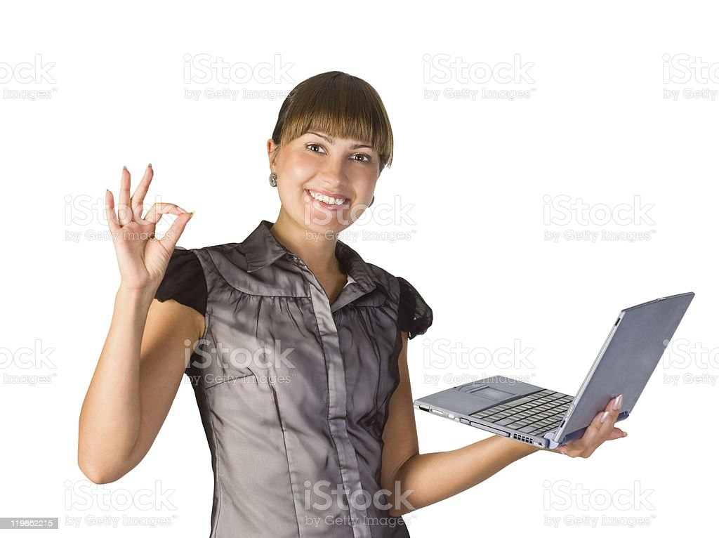 Beautiful businesswoman with laptop stock photo