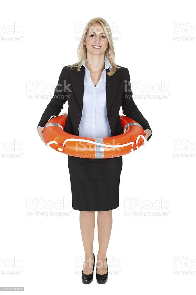 Beautiful businesswoman with life buoy royalty-free stock photo