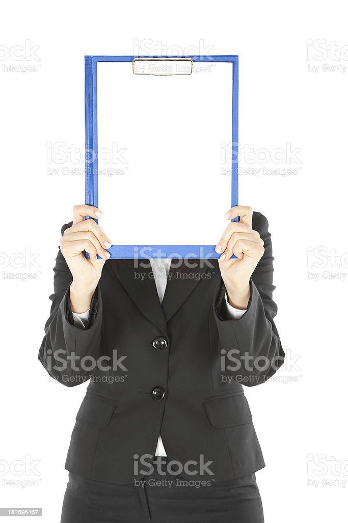 Beautiful Businesswomen Holding Empty Blue Clipboard royalty-free stock photo