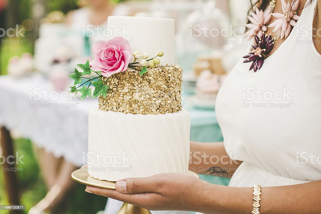 Beautiful cake at a garden party stock photo