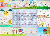 beautiful calendar for 2017 with children's drawings